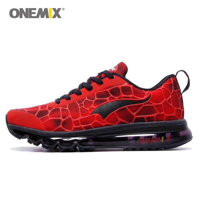 Prix pour Onemix sport chaussures hommes chaussure de course élastique rouge noir sneaker air coussin athletic formateur homme pour formation coureur taille ue 39-46