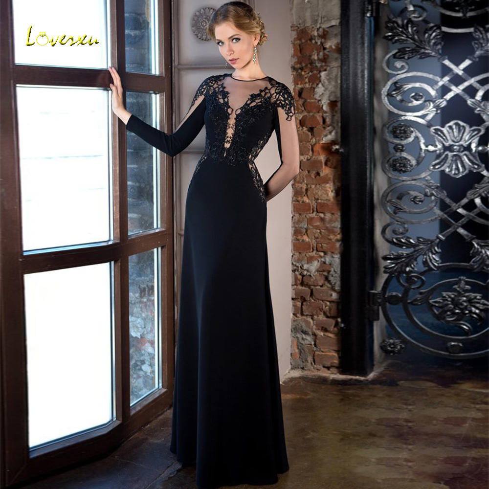 Loverxu Illusion O-Neck None Train Straight   Evening     Dress   Elegant Applique Long Sleeve Backless Floor Length Formal   Evening   Gown