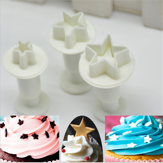 3Pcs/Set Mini Star Fondant Cake Decorating Plunger Biscuit Cookies Cutter Diy Mold Christmas Cake Decorating Tools