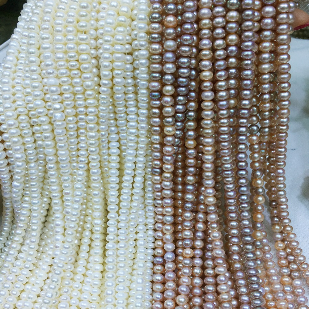 Natural freshwater pearl beads high quality <font><b>36</b></font> cm perforated loose beads DIY ladies necklace bracelet production 5-6mm 2colors image