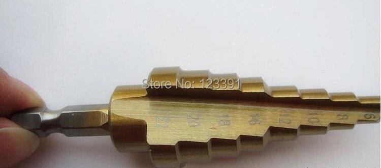 1pc 1/4 HEX shank 6-22mm HSS straight step Drill Bit Set core drill bit TIN Coated cone Step Drill Bit Set hole cutter HSS 4241 g 3pcs set quick change hex shank larger titanium coated m2 tool step drill bit set 71960 t