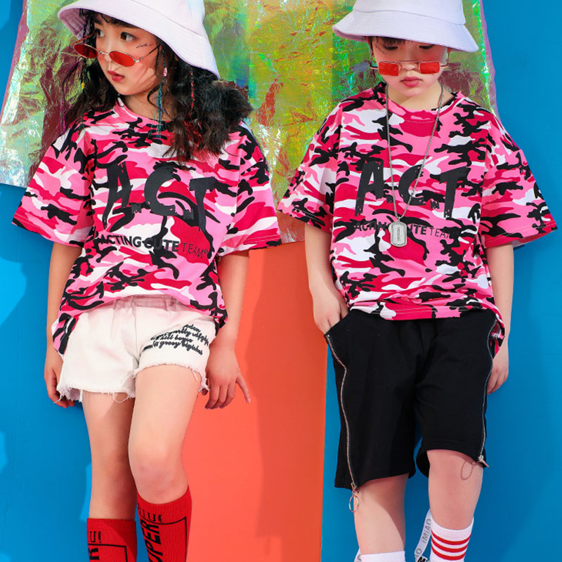 Fashion Kids Dance Costume Pink Camouflage Hiphop Rave Outfit Jazz Stage Wear Street Dance Performance Practice Clothing DC2180
