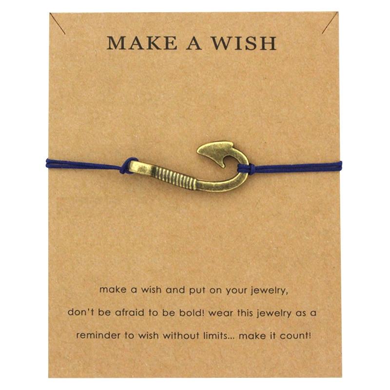 Make a Wish Jewelry Silver Brass Arrow Sailing Fish Hook Rudder Seahorse Starfish Mermaid Seashells Charm Men Bracelet for Women