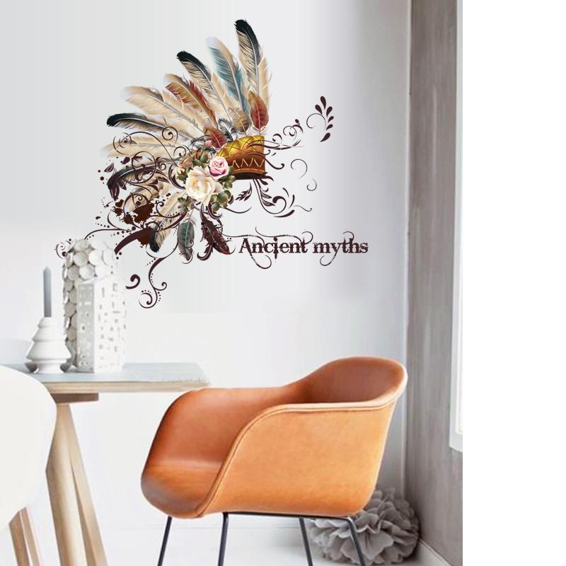 SK7078 Ancient tribal headdress feather wall stickers home decor living room decal diy art mural wallpaper wall sticker