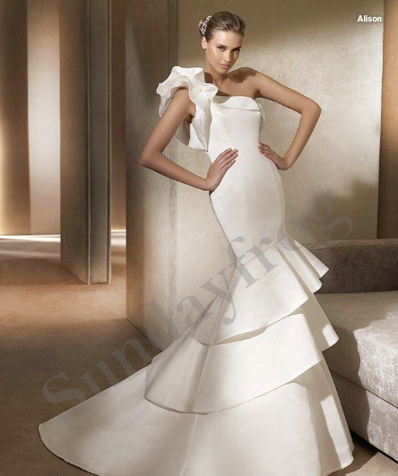 Freeshipping Best Selling Custom Made Ruched One-Shoulder Taffeta A-Line Gown Ruffle Wedding Dresses Bridal Gowns -LS309