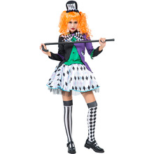 Umorden Teen Women Girls Mad Hatter Costume Dress Outfit Halloween Carnival Party Fancy Dresses