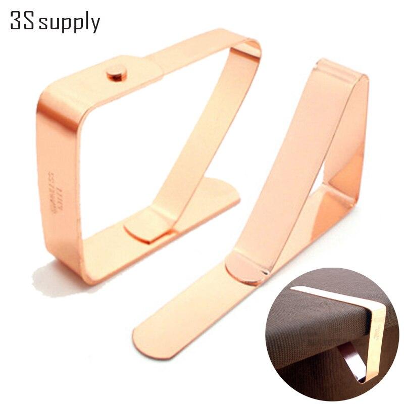 Nuevo 4 unids mantel clips de acero inoxidable titular de la cubierta del paño d