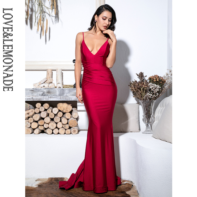 2db911d32c Love Lemonade Sexy Deep Red V-Neck Open Back Elastic Material Bodycon Gown  Long Dress LM81532