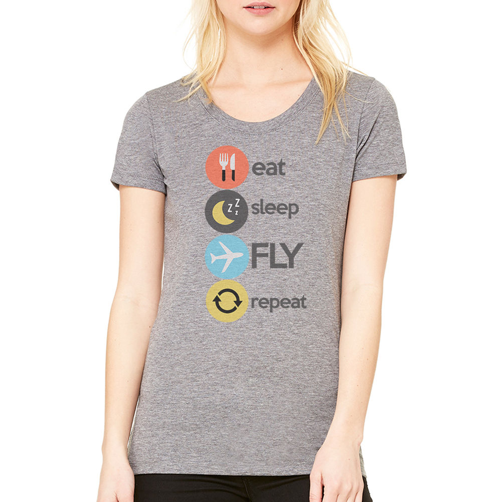 Eat Sleep Fly Repeat T-Shirt New Sizes S-XL For Lady Kawaii Tops Tee Women T Shirts Clothing Wholesale Women Summer Novelty