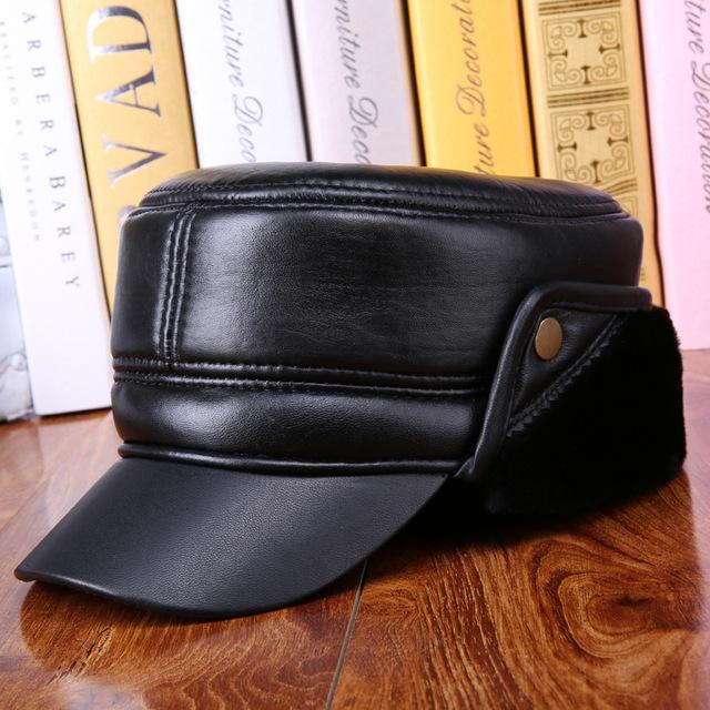 Lã chapéu de couro genuíno do homem velho inverno quente tampa plana de espessura de pele de carneiro Earmuffs inverno língua de pato chapéu B-0611