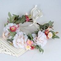 Vintage De Mariage Floral Couronne Tête Bande Floral Tête Guirlande Femmes Bandeau De Fleur de Demoiselle D'honneur De Mariée Casque Filles Fleur Couronne