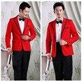 Four Pieces Set Colorful Mens Suits Men's Red Tailcoat Evening Party Suit Master Host Stage Show Clothes Wedding Suits For Men