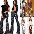 Women Boho Printed High Waist Stretch Slim Flare Bell Bottom Pants Long Trousers