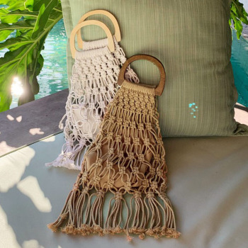 Hollow Tassel Rattan Bags Handmade Wood Handle Womens Handbags Woven Rope Straw Bag Casual Totes Summer Beach Purse Shopping Sac 1