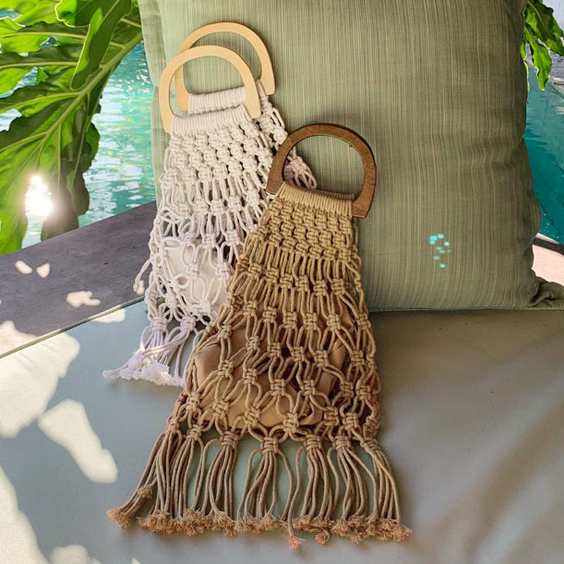 Hollow Tassel Rattan Bags Handmade Wood Handle Womens Handbags Woven Rope Straw Bag Casual Totes Summer Beach Purse Shopping Sac