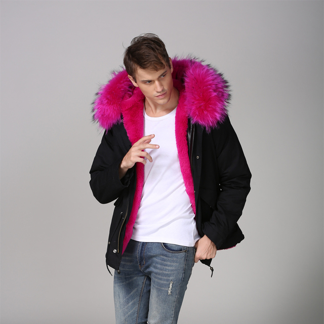 78f9e6e686 2017 Top Quality Short Length Rose pink faux fur lining black cotton shell  mens winter new style wear