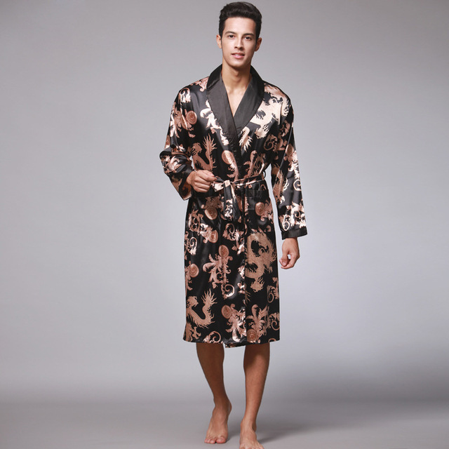 73f096a7d9 New Arrival Navy Blue Chinese Men s Faux Silk Robe Novelty Kimono Yukata  Gown Summer Sleepwear Size L XL XXL XXXL