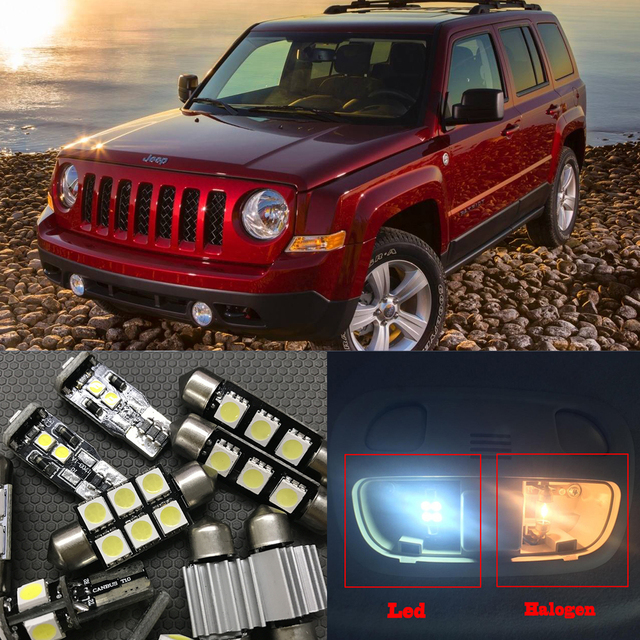 US $10 88 7% OFF|10pcs Canbus Error Free LED Light Bulb Kit Package for  2007 2015 Jeep Patriot 12V Interior Map Dome Trunk License Light-in Signal