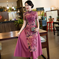 Viola Stampa Sottile Vietnam Aodai Qipao Sexy Della Maglia Vestito Delle Donne Dell'annata Collare Del Mandarino Fiore Cheongsam Tradizionale Cinese