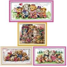 Плюшевый семья игрушечных медведей из мультфильма картина Счетный напечатанный на холсте DMC 11CT 14CT Китайский Набор для вышивания крестиком Набор для вышивания