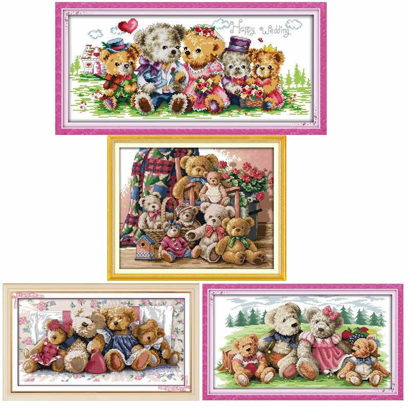 14CT Teddy Bear Family Printed Cross Stitch Kit Size 46cm X 37cm