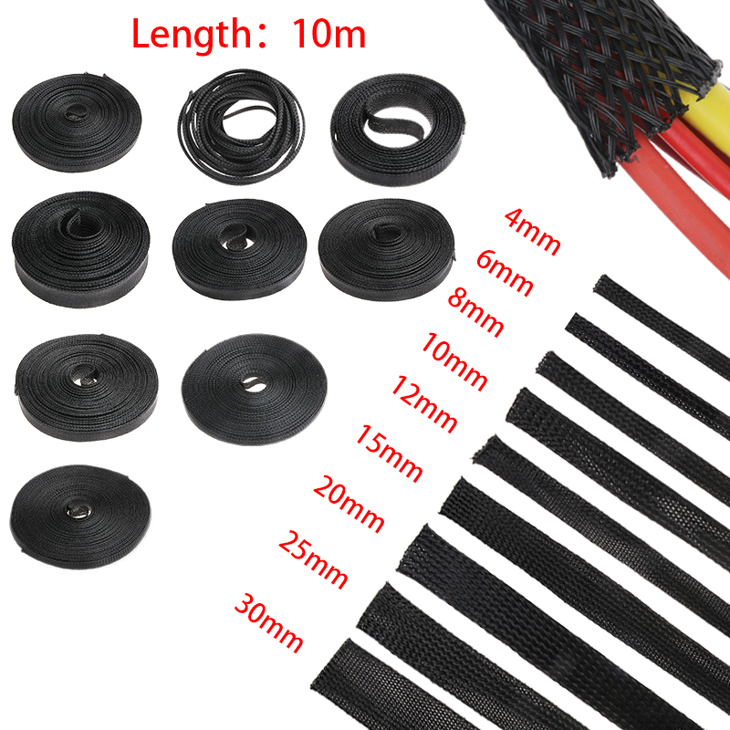 10M Black Cable Sleeves Wire Gland Cables Protection 2/4/6/8/10/12/15/20/25mm Insulation Tight PET Expandable Braided Sleeving
