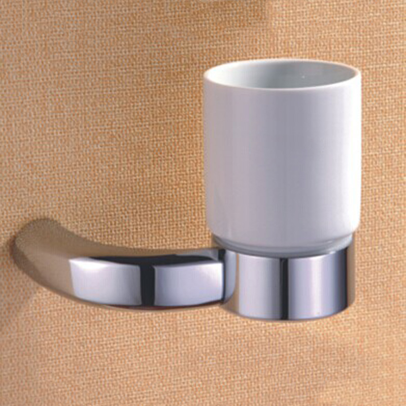 Polished Chrome Single Tumbler Holder Modern Ceramic Cup Fashion Toothbrush Holder Shiny Bathroom Accessories Home Hanging Decor new arrival flower carved bath deck mount toothbrush holder single ceramic cup with metal holder tumbler holder