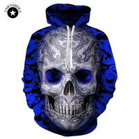 Blue Red 3d Skull Hoodie Men Women Fashion Winter Spring Sportswear Hip Hop Tracksuit Brand Hooded