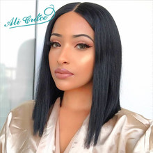 Ali Grace Short Blunt Cut Bob Wig For Black Women With Pre-Plucked Hairline Brazilian Remy Hair Short Lace Front Human Hair Wigs(China)