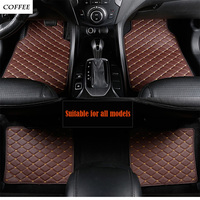 Universal leather car floor mats for Skoda Octavia RS Fabia Superb RAPID Fabia Rapid Spaceback GreenLine Joyste car styling