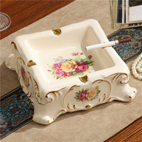 European Ceramic ashtray luxury fashion Home Furnishing household decorative square ashtray table decoration room