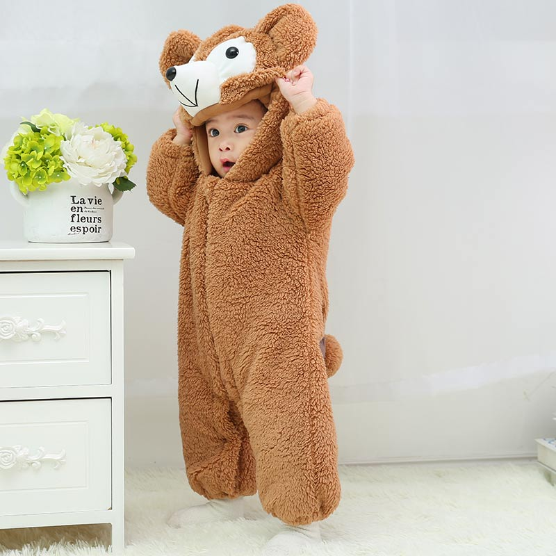 New Baby Rompers Winter Warm Fleece Clothing Set for Boys Cartoon Infant Girls Clothes Newborn Baby Jumpsuit freeshopping free shipping winter newborn infant baby clothes baby boys girls thick warm cartoon animal hoodie rompers jumpsuit outfit yl