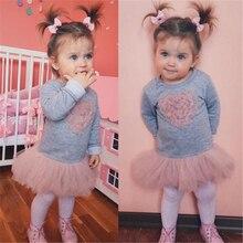 Коллекция года, новогодние костюмы для девочек, Модное детское кружевное платье-пачка с длинными рукавами и сердечками для маленьких девочек одежда для маленьких девочек милое платье