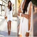 2016 Summer Dress V-Neck Women Dress Sexy Casual Loose Off Shoulder Plus Size Beach Dress Chiffion Black White Dress Vestidos