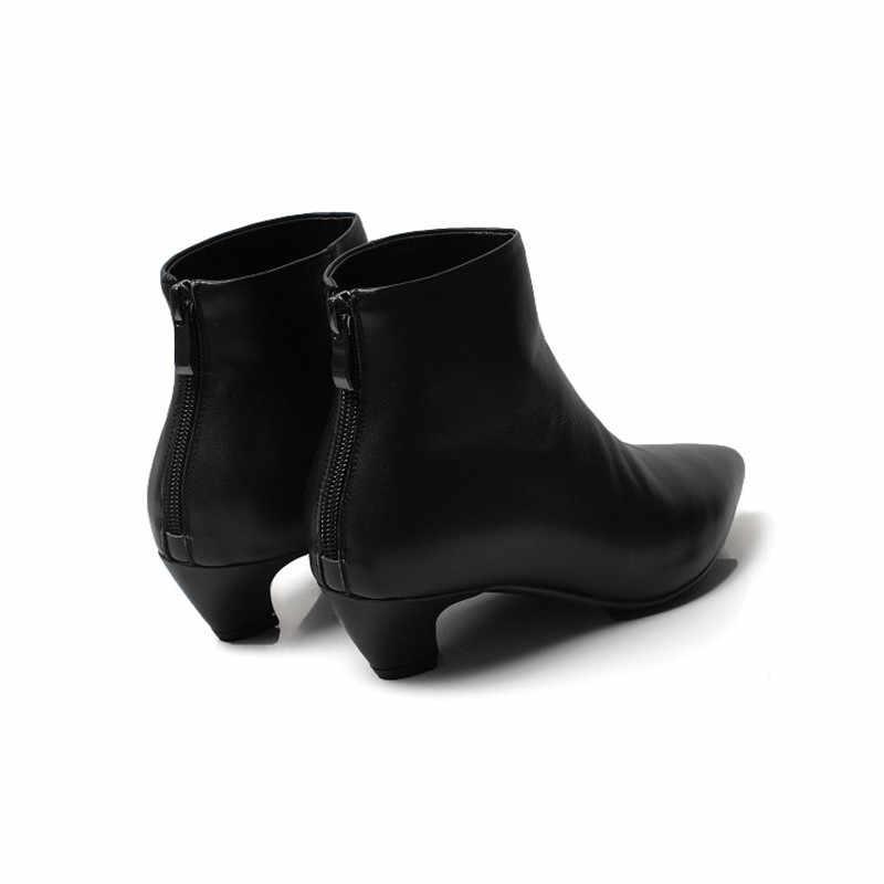 COOTELILI yarım çizmeler Kadın Topuklu rahat ayakkabılar Kadın Yumuşak Deri siyah çizmeler Kadın Motosiklet Botas Mujer Sivri Burun