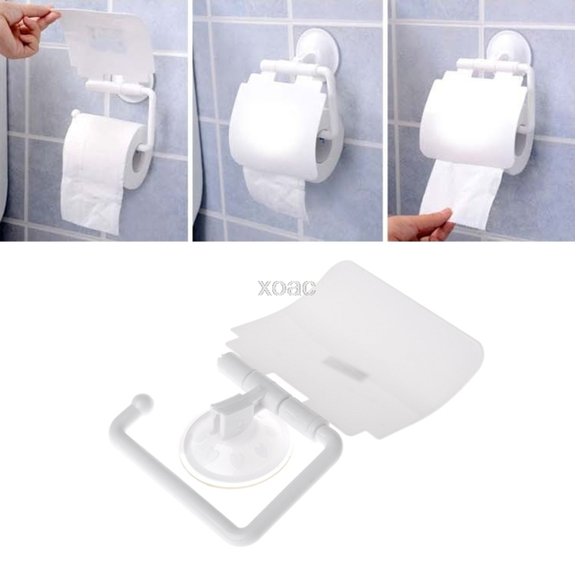 Wall Mounted Plastic Suction Cup Bathroom Toilet Paper Roll Holder