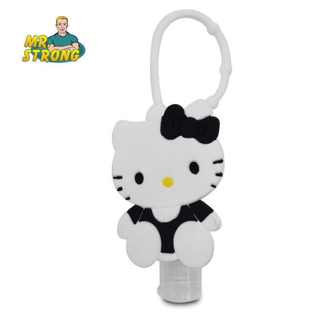 Cartoon 30ml waterless Silicone bath body works hand sanitizer pocketable antibacterial holder with empty bottle