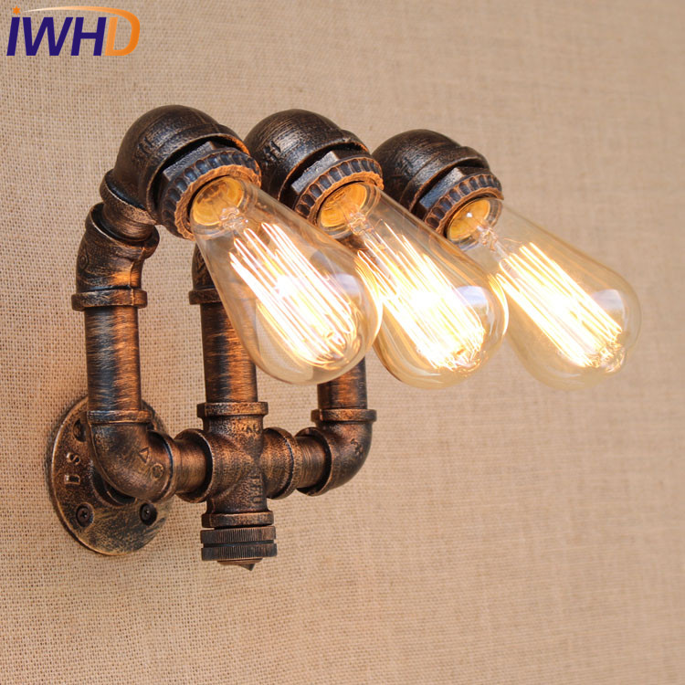 Led Indoor Wall Lamps Lights & Lighting Smart Iwhd Vintage Industrial Loft Style Led Wall Lamp Iron Water Pipe Wall Light Retro Wall Sconce Fixtures For Indoor Home Lighting