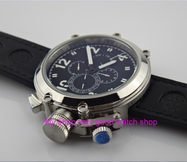 Left-handed model 50mm PARNIS black dial Automatic Self-Wind movement men's watch Multi-function Mechanical watches 201 4