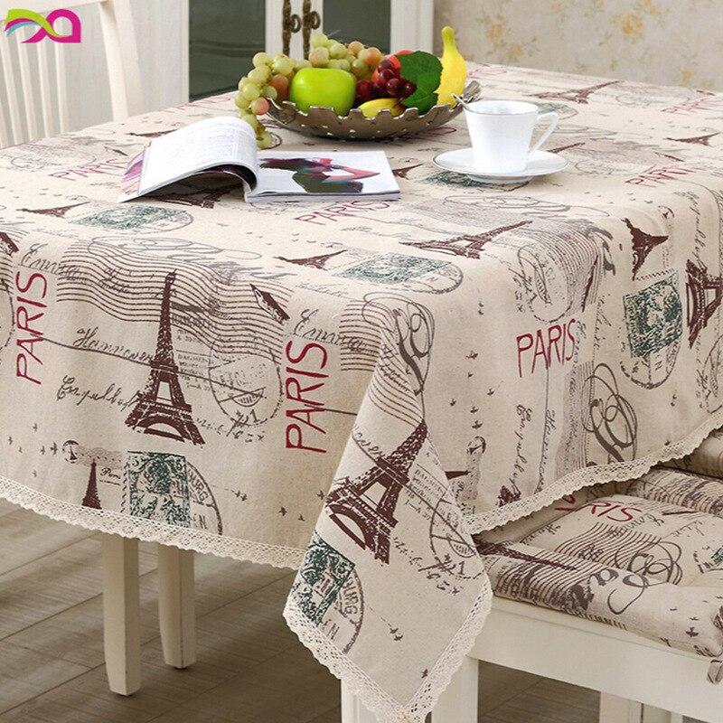 CURCYA Cotton Linen Tablecloth French Romantic Paris Eiffel Tower Table Covers