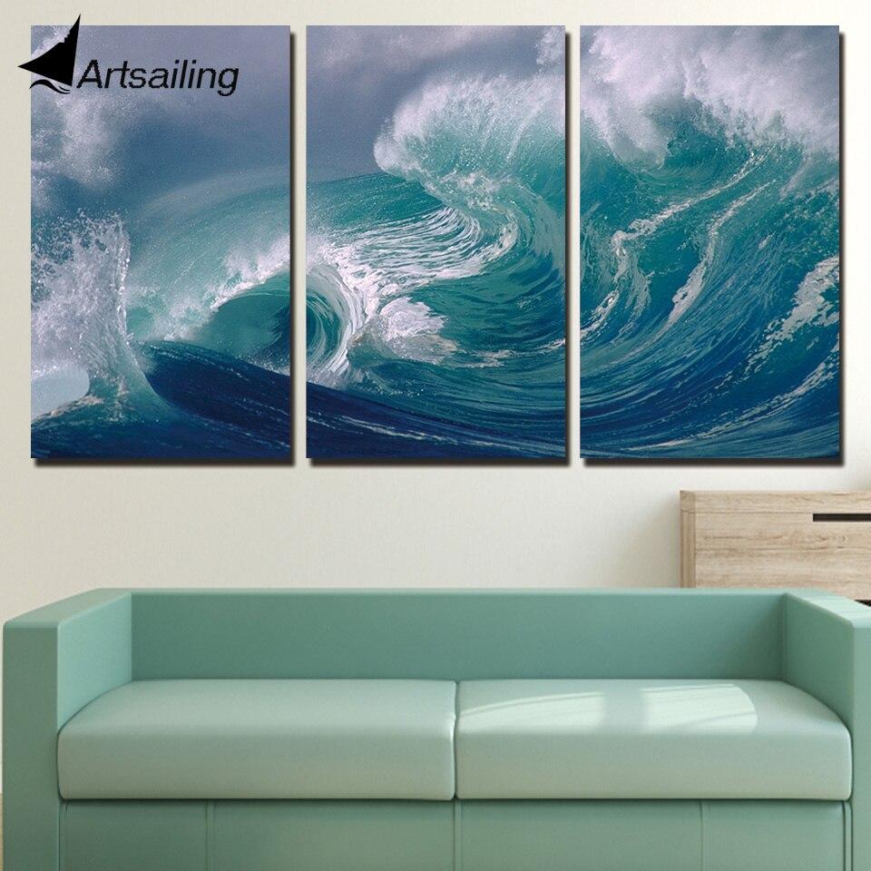 Free Shipping 4pcs Shell Pearl Beach Wall Painting Print: 3 Piece Canvas Painting Roaring Waves Sea Sights HD
