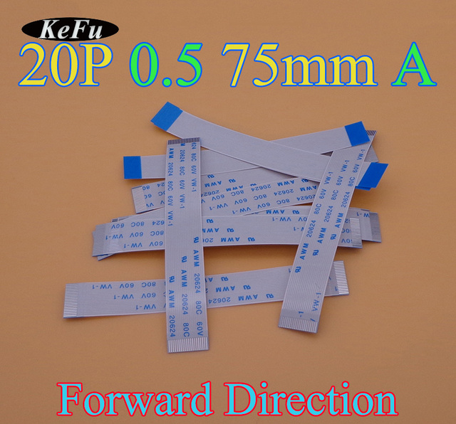 2-100pcs/lot Type A 10mm 75mm FFC FPC 20pin 0.5 pitch Flat Ribbon Flex Cable 20 pins 20624 AWM 80C VW-1 60V Power Button