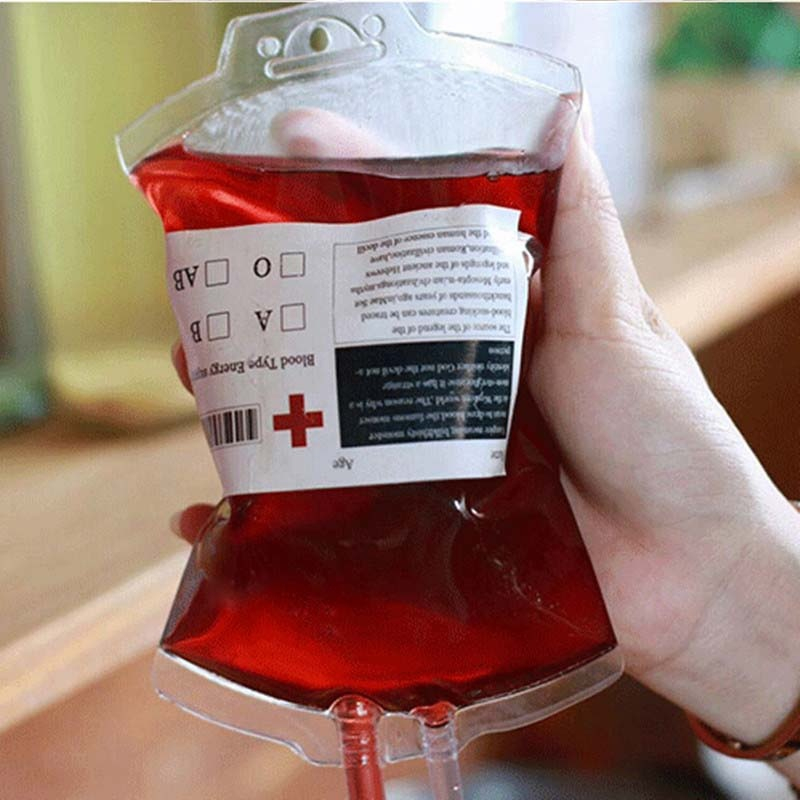 Material Energy Drink Vampire Reusable PVC Food Props Blood Bag Pouch Bottle