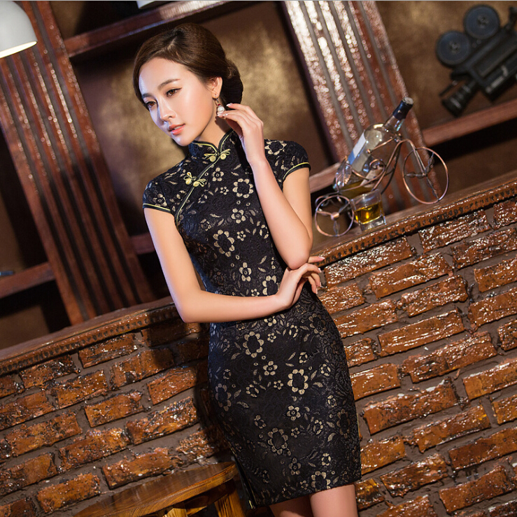 Hot Traditional Chinese Dress Spring Lace Cheongsam Cotton Evening