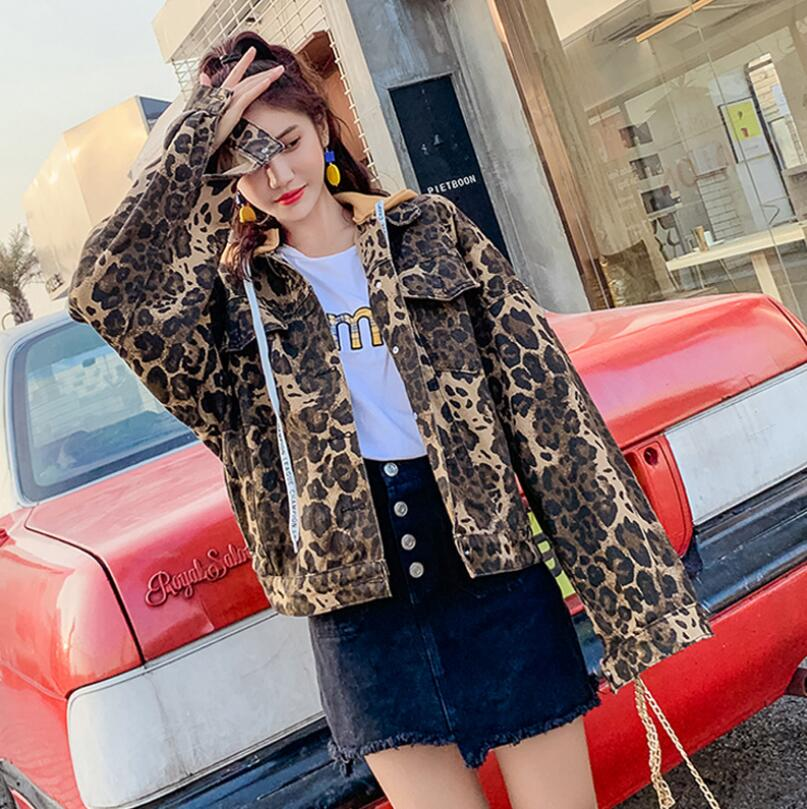 2019 spring Women   basic     Jacket   streetwear Leopard hooded Denim   Jacket   Female Long Sleeve Motorcycle Bomber   Jackets   r694