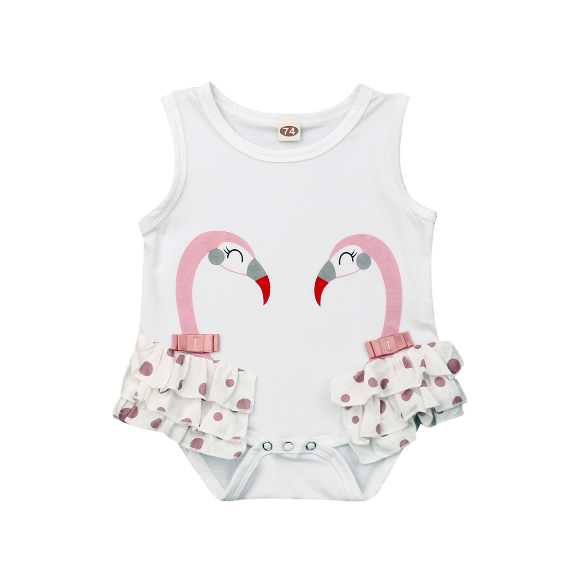 Flamingo On A Bicycle Infant Baby Girl Boy Bodysuit Jumpsuit Short Sleeve Bodysuit Tops Clothes