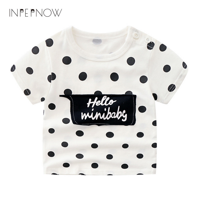 INPEPNOW Girls Shirts Funny Printed Fashion-Style Children Summer Stripe 3-8Y Tee