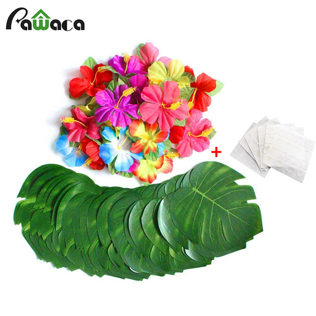 606488pcs Tropical Palm Leaves Hibiscus Flowers Simulation Leaf