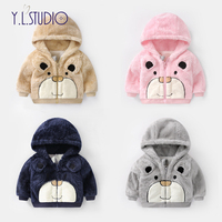 Baby boy Jacket 2018 New Winter Girl Hooded Coat Faux Fur Cotton Thicker Cartoon Long Sleeve Party Coat for newborn Clothing