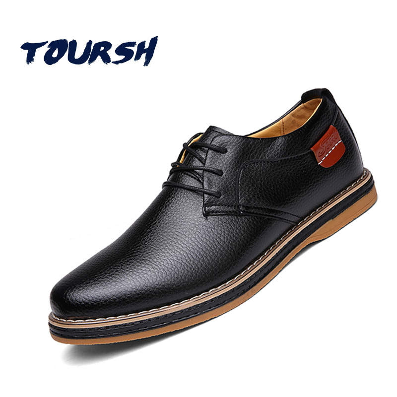 TOURSH Luxury Men Flats Casual Man Shoes Leather Genuine Men Oxford Lace Up Dress Shoes Sapato Masculino Chaussure Homme Cuir 44 new 2017 summer brand casual men shoes mens flats luxury genuine leather shoes man breathing holes oxford big size leisure shoes